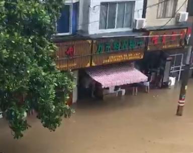 """富阳万市街道变""""河道""""  消防出动救援被困人员"""